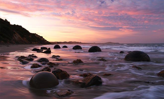 Les rochers Moeraki, Nouvelle Zélande